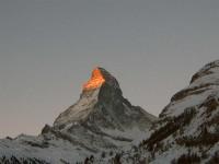 Вершина горы осветилась солнцем !