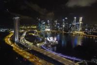 Вид на ночной Сингапур с колеса обозрения